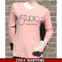 Girlie Pink Long sleeves R-Neck Black Front Logo TOS