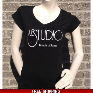 Girlie Shirt Black V Neck White Front Logo TOS