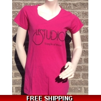 Girlie Shirt Hot Pink V Neck Black Front Logo