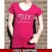 Girlie Shirt Hot Pink V Neck White Front Logo