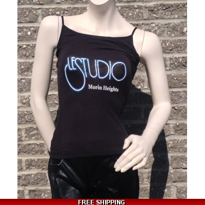 Woman Black Tank Top White & Blue Front Logo M/H