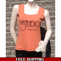 Woman Orange Tank Top Black & Blue Front Logo TOS