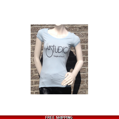 Girlie Light Blue Round-Neck Black Front Logo
