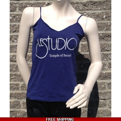 Woman Navy Blue Tank Top White Front Logo