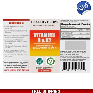 Vitamin D3 and K2 MK7 60 Count