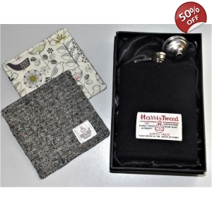 8oz Harris Tweed Covered Hip Flask & 2 Coasters TRACEY