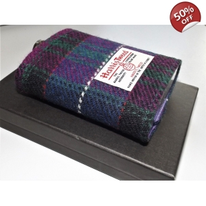 8oz Harris Tweed Covered Hip Flask