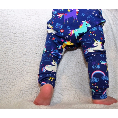 Navy Unicorn Leggings 6-9m
