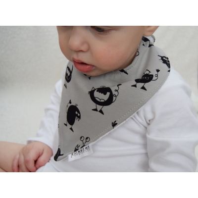 Grey Monsters Dribble Bib