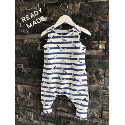 White & Navy Seagull Dungys 18-24m