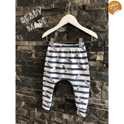 0-3m Navy & White Seagull Leggings