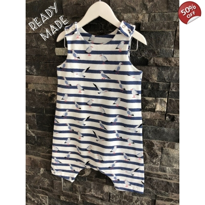 6-9m Navy & White Seagull Shortie Dungys