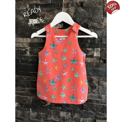 6-9m Coral Starfish Pinafore Dress