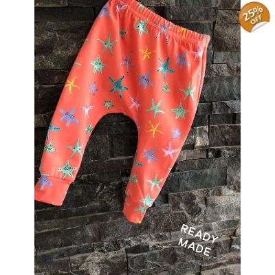9-12m Coral Starfish Leggings