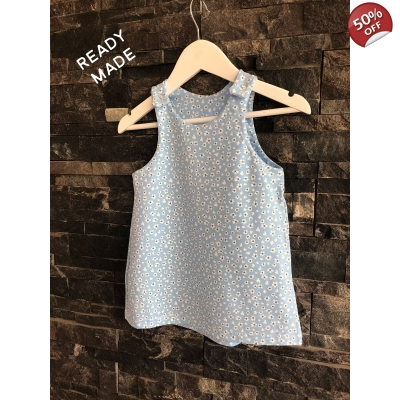 4-5y Blue Daisy Pinafore Dress