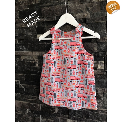 6-9m Fire Engine Pinafore Dress