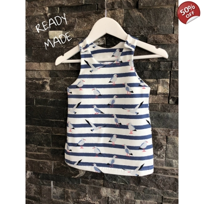 3-6m Navy & White Seagull Pinafore Dress