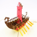 Viking Ship Pop Up Card-brown