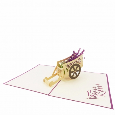 Lavender Flower Cart Pop Up Card