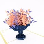 Flower Bouquet Pop Up Card-pink and purple