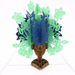 Flower Bouquet Pop Up Sympathy Card-blue and green