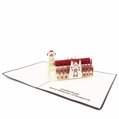 French Building Pop Up Card cream beige
