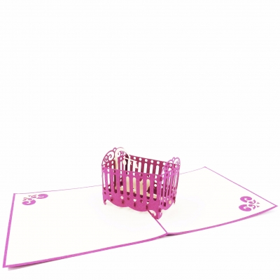 Baby Crib Pop Up Card-Girl