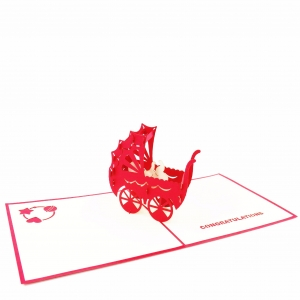 New Baby Pop Up Card – Red S..