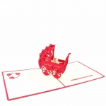 New Baby Pop Up Card – Red Stroller
