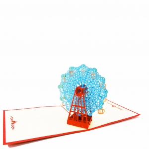 Ferris Wheel Pop Up Card-blue