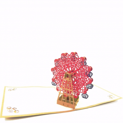 Ferris Wheel Pop Up Card-red