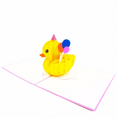 Girl Rubber Duck Pop Up Birthday Card