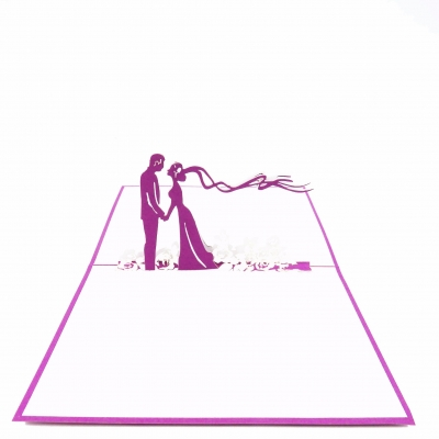 Purple Wedding Pop Up Card