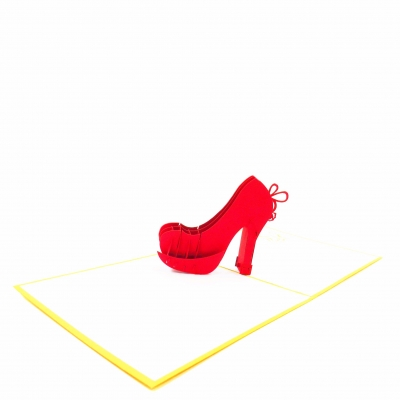 High Heel Pop Up Birthday Card-red