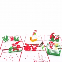 Busy Santa Pop Up Christmas Card Collection 6 pack