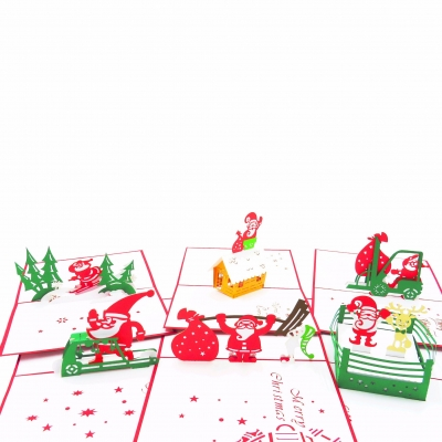 Busy Santa Pop Up Christmas Card Collection - 6 pack