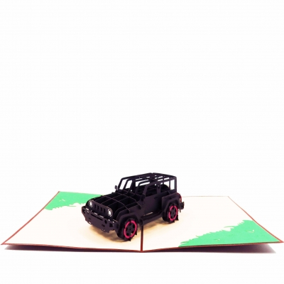 Jeep Pop Up Card-black