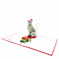 Cat Christmas Pop Up Card