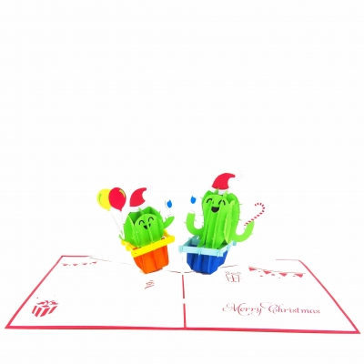 Cactus Christmas Party Pop Up Card
