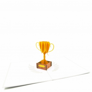 Golden Trophy Pop Up Card