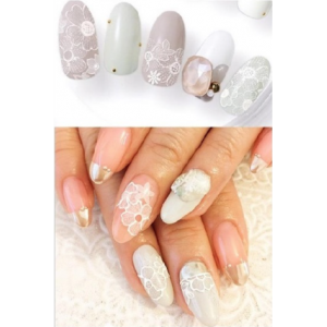White Lace Floral Water Decals