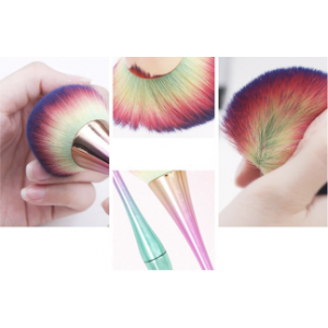 Rainbow Ombre Fluffy Duster Brush