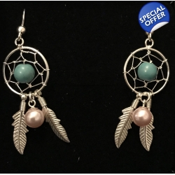 Pre-Set Green Dreamcatcher Earrings with Crystal..