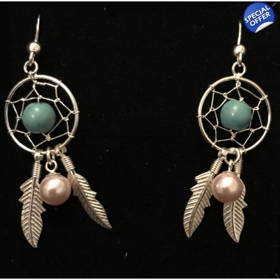 Pre-Set Green Dreamcatcher Earrings with Crystal Pearls