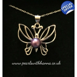 Pre-Set Butterfly Pendant With Red Wine Pearl