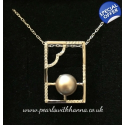 Pre-Set Square Pendant with Platinum Crystal Pearl