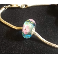 Pink & Blue Flower Glass Bead Slider