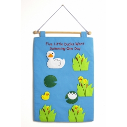 'Five little Ducks went swimming one day' fabric wallchart