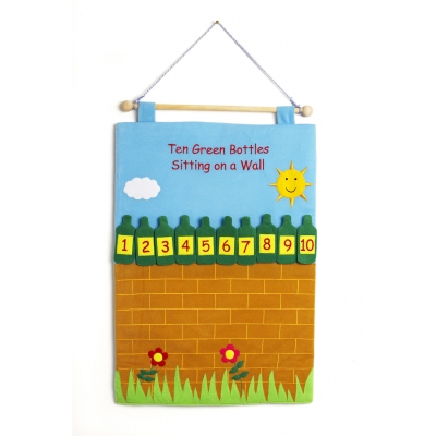 'Ten Green Bottles standing on the wall ' fabric wallchart.