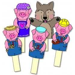 Three Pigs Storysticks